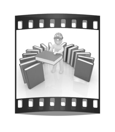 literary man: 3d white man in a hard hat with best technical literature on a white background. The film strip