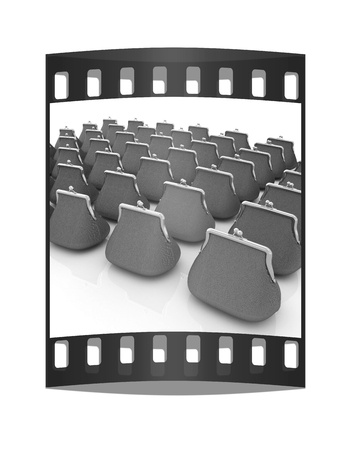 bailer: Leather purse on a white background. Investments concept. The film strip Stock Photo