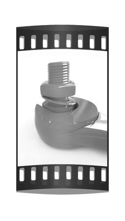 tighten: Colorful wrench to tighten the screws on a white background. The film strip Stock Photo