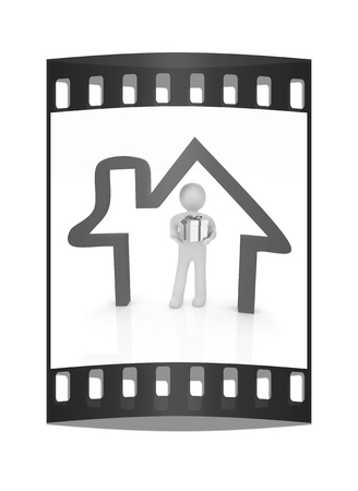 Presentation of new house. 3d man holds the gift, and is within the red icon house. The film strip photo