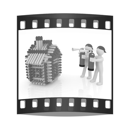 3d man with red fire extinguisher and log houses from matches pattern on white. The film strip Stock Photo