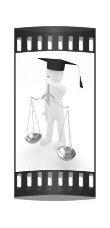 3d man - magistrate with gold scales. Isolated over white. The film strip