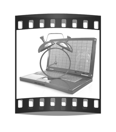 Notebook and clock on a white background. The film strip photo