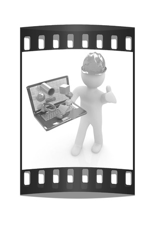 capabilities: 3D small people - an engineer with the laptop presents 3D capabilities on a white background. The film strip