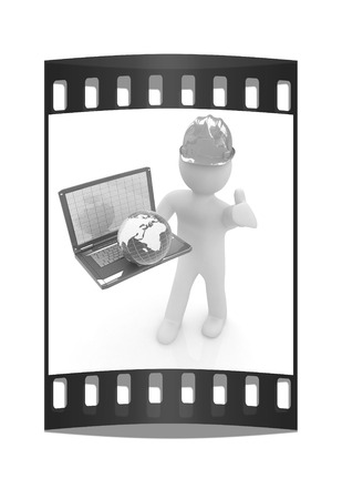 geodesist: 3D small people - an international engineer with the laptop and earth on a white background. The film strip Stock Photo