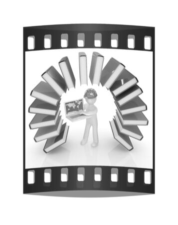 literary man: Colorful books like the rainbow and 3d man in a hard hat with laptop on a white background. The film strip