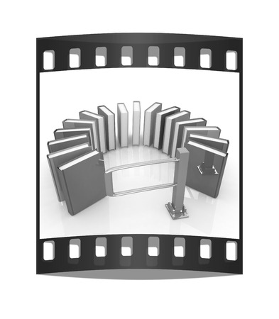 tourniquet: Colorful books in a semicircle and tourniquet to control. The concept of the exam on a white background. The film strip