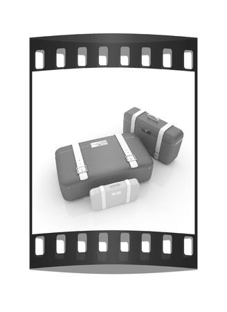 Traveler's suitcases. Family travel concept. The film strip Reklamní fotografie - 126243989