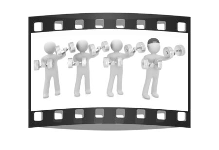 metall: 3d mans with metall dumbbells on a white background. The film strip Stock Photo