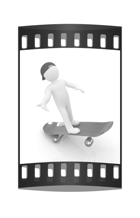 attitude boy: 3d white person with a skate and a cap. 3d image on a white background. The film strip Stock Photo