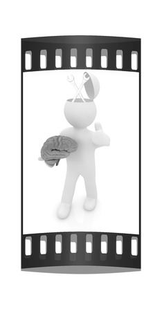 up service: 3d people - man with half head, brain and trumb up. Service concept with wrench. The film strip