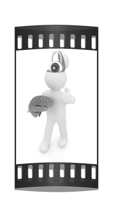 head protection: 3d people - man with half head, brain and trumb up. The concept of protection with lock. The film strip