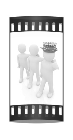 luxuriance: 3d people - man, person with a golden crown and 3d man. The film strip Stock Photo