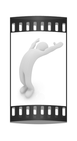 flexibility: 3d man isolated on white. Series: morning exercises - flexibility exercises and stretching. The film strip