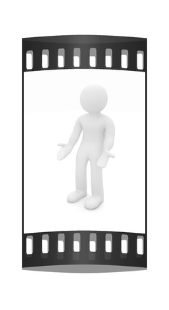 perplexed: 3d man isolated on white. Series: human emotions - indignation and perplexed. The film strip