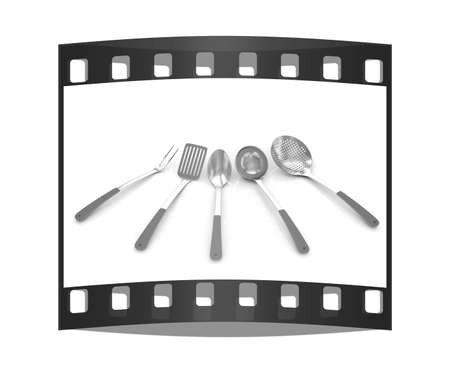 sizzle: cutlery on white background. The film strip