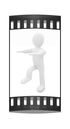 personage: 3d personage on white background. Starting series: stretching before exercise. The film strip Stock Photo