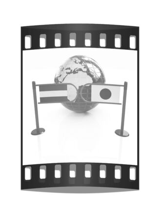 Three-dimensional image of the turnstile and flags of Japan and Luxembourg on a white background. The film strip photo