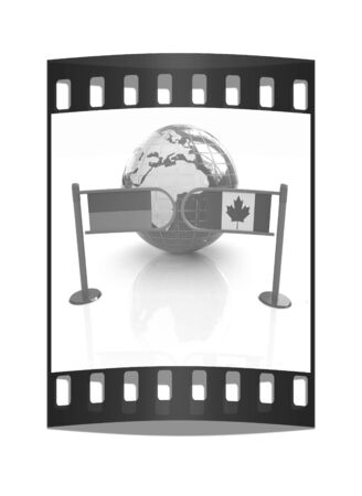 Three-dimensional image of the turnstile and flags of Canada and Ukraine on a white background. The film strip photo