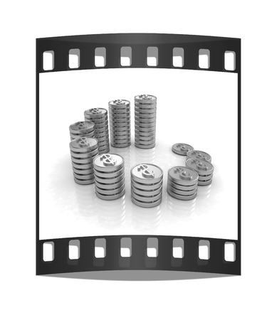 financial stability: Gold dollar coin stack isolated on white. The film strip