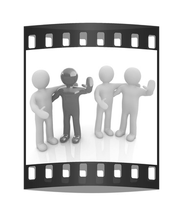 Friends standing next to an embrace and raised ones hand for greeting. 3d image. Isolated white background. The film strip Stock Photo