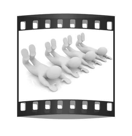 flexibility: 3d mans isolated on white. Series: morning exercises - flexibility exercises and stretching. The film strip