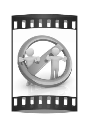 denial: 3d persons and stop sign. The film strip