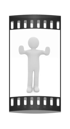 veto: 3d man. Ban, veto, warning concept - making stop gesture. The film strip