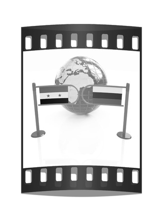 illustrated globe: Three-dimensional image of the turnstile and flags of Russia and Syria on a white background. The film strip