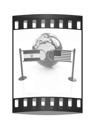 haitian: Three-dimensional image of the turnstile and flags of USA and Iran on a white background. The film strip
