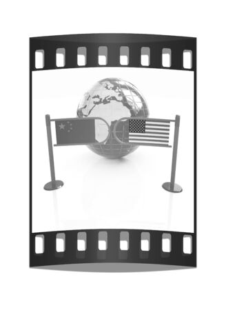 bilateral: Three-dimensional image of the turnstile and flags of USA and China on a white background. The film strip Stock Photo