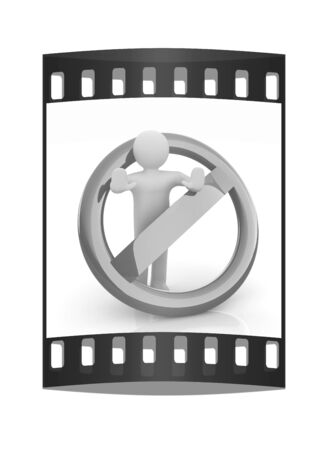 3d person: 3d person and stop sign. The film strip