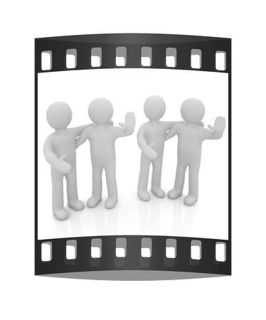 Friends standing next to an embrace and raised ones hand for greeting. 3d image. Isolated white background. The film strip Reklamní fotografie