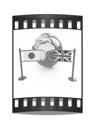 truce: Three-dimensional image of the turnstile and flags of UK and Japan on a white background. The film strip Stock Photo
