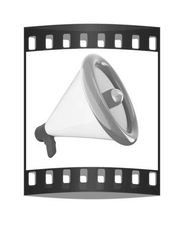 speaking tube: Loudspeaker as announcement icon. Illustration on white. The film strip Stock Photo