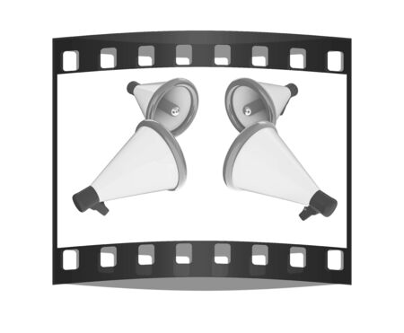 announcement icon: Loudspeakers as announcement icon. Illustration on white. The film strip