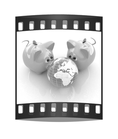 deposit slip: global saving. The film strip Stock Photo