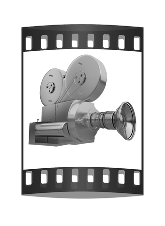 35mm film motion picture camera: Old camera. 3d render. The film strip