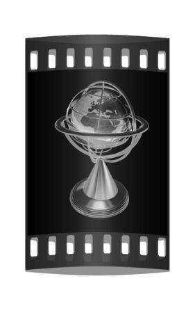 globe  the terrestrial ball: Terrestrial globe model. The film strip Stock Photo