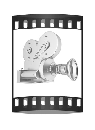 archival: Old camera. 3d render. The film strip