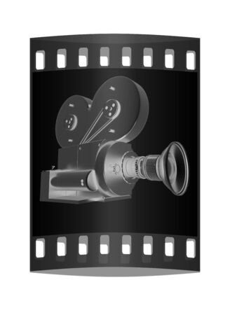 16mm: Old camera. 3d render. The film strip