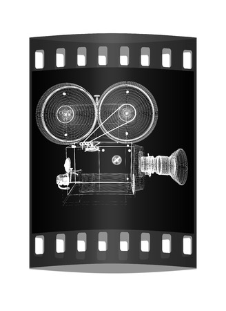 film history: Old camera. 3d render. The film strip