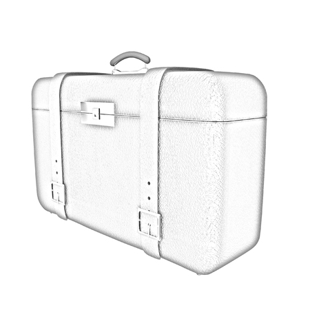 Red travelers suitcase on a white background