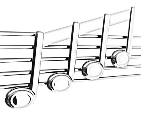 3d music: 3D music note on stave on a white Stock Photo