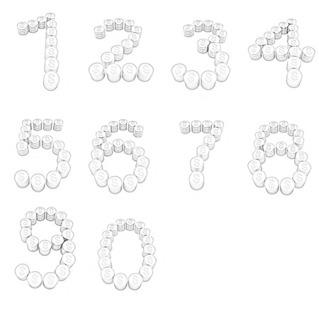 8 9: Set of the numbers 1,2,3,4,5,6,7,8,9,0 of gold coins with dollar sign on a white background Stock Photo