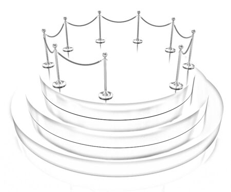stanchion: Gold podium 3d on a white background