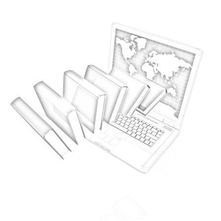libros volando: Libros volar y un ordenador portátil de colores sobre un fondo blanco