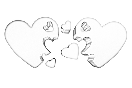 affiance: 3d hearts family concept Stock Photo