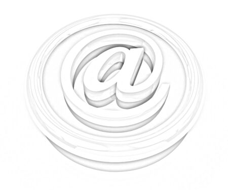 3d button: 3d button email Internet push on a white background