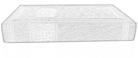 pluma de escribir antigua: El libro de cuero sobre un fondo blanco